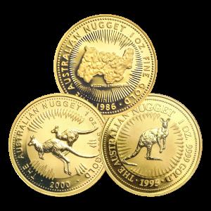 Moneda de oro Pepita Canguro Australiano de 1 onza y año aleatorio