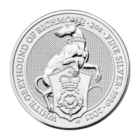 2 oz 2021 Royal Mint Queen's Beasts   White Greyhound of Richmond Silver Coin