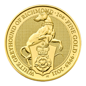 1 oz 2021 Royal Mint Queen's Beasts | White Greyhound of Richmond Gold Coin