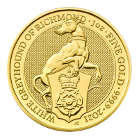 1 oz 2021 Royal Mint Queen's Beasts   White Greyhound of Richmond Gold Coin