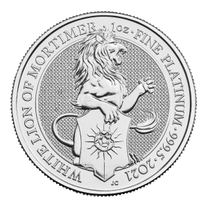 1 oz 2021 Royal Mint Queen's Beasts | White Lion of Mortimer Platinum Coin