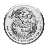 1 oz 2020 Royal Canadian Mint Dragon High Relief Silver Coin