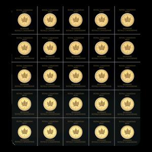 Lámina de monedas de oro MapleGram 2021 de 25 gramos (25 x 1 gr)