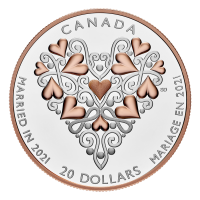 1 oz 2021 Royal Canadian Mint Best Wishes on your Wedding Day Proof Silver Coin