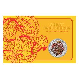 1 oz 2021 Australia Chinese Myths and Legends   Dragon Colourized Silver Coin in Certicard